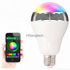 BL-05 6W E27 LED RGB Light Music Bluetooth Smart Bulb Lamp Speaker Color APP