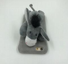3D Pet Donkey Monkey Sheep Giraffe Back Cover with Kickstand Warm Plush Toy Doll