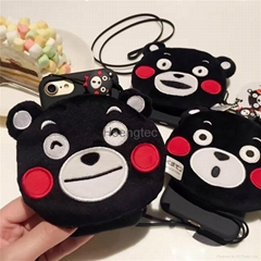 Black Kumamon Back Cover Silicon Soft Phone Case Cute Cartoon Bear Cellphone Pro