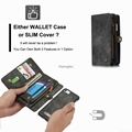 CaseMe Zipper Leather Wallet Case Cash