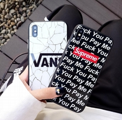 Supreme Vans Devil Angle Monster Tempered Glass Case Back Cover f or iPhone X 7