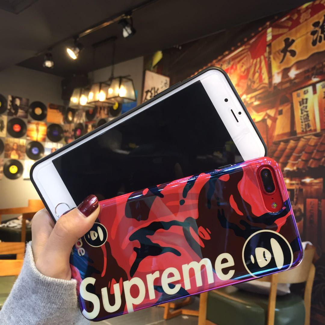 Supreme Cover Blue-Ray Blue Ray Mirror Back Case IMD Laser Shell for iPhone X 7
