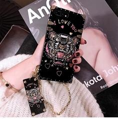 Luxury Brand Kenzo Tiger Head Phone Case Bracelet Back Cover Kenzo Gloss Shell