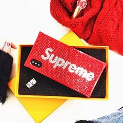 Luxury Brand Supreme Louis V L V Diamond Rhinestone Back Cover Case Bling Bling