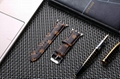 Luxury Brand Checkerboard Pattern Leather Watchband Printed Flower Watch Strap 5