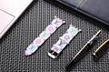 Luxury Brand Checkerboard Pattern Leather Watchband Printed Flower Watch Strap 6