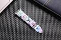 Luxury Brand Checkerboard Pattern Leather Watchband Printed Flower Watch Strap 8