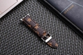 Luxury Brand Checkerboard Pattern Leather Watchband Printed Flower Watch Strap 9