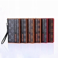 Plaid Print Folio Leather Wallet Case LV