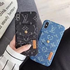 Flower Print Jeans Card Slot Fabric Fashion Case Bracket Clothing Phone Shell
