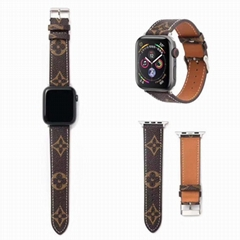 iWatch LV Watch Band Flower Print LV Watchbands Plaid Print Leather Watch Strap (Hot Product - 4*)