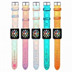 Candy Color Designer Gucci Leather Wristband Bracelet for iWatch Apple