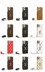 Plating LV Leather Back Cover Wristband Bracelet Louis Vuitton Shell for iPhone