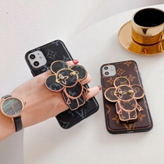 LV Sun Flower Print Wristband Bracelet Plating Leather Case for iPhone 11 Pro XS