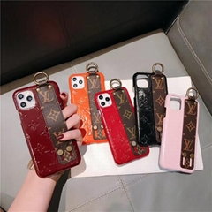 Flower Print LV Wristband Bracelet Leather Back Case Gloss Rope for iPhone 11 8