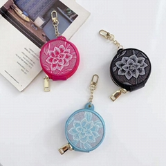 Flower Print Vintage Leather Zipper Storage Bag Cosmetic Makeup Mirror Pouch