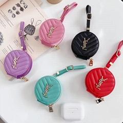Luxury Designer Saint Laurent Zipper Leather Storage Bag for Airpods2 Pro