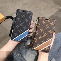 Luxury Pairs Louis Vuitton Flip Leather Wallet Clutch Wristband Lanyard Case