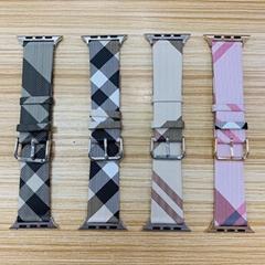 Luxury Designer Plaid Print Leather Wristband Stripe Print Pairs Wrist Strap