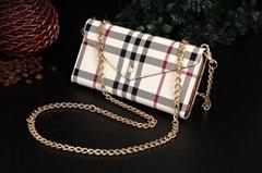 Luxury Designer Foldable Stripe Print Leather Wallet Case Wristband Bracelet