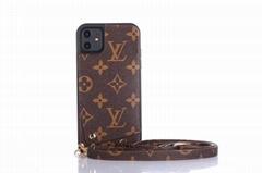 Monogram Leather Wristband Wallet Back Cover Lanyard    Phone Case