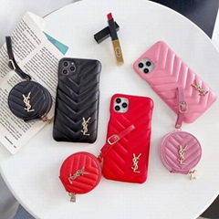 Luxury Designer Saint Laurent Lambskin Leather Zipper Bag Airpods Case     Cover