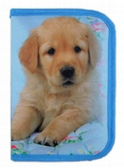 Blue Zippered Pencil Case Box One Zipper Bag Dog Printed For School