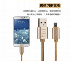 High strength nylon braided USB cable data line for Android