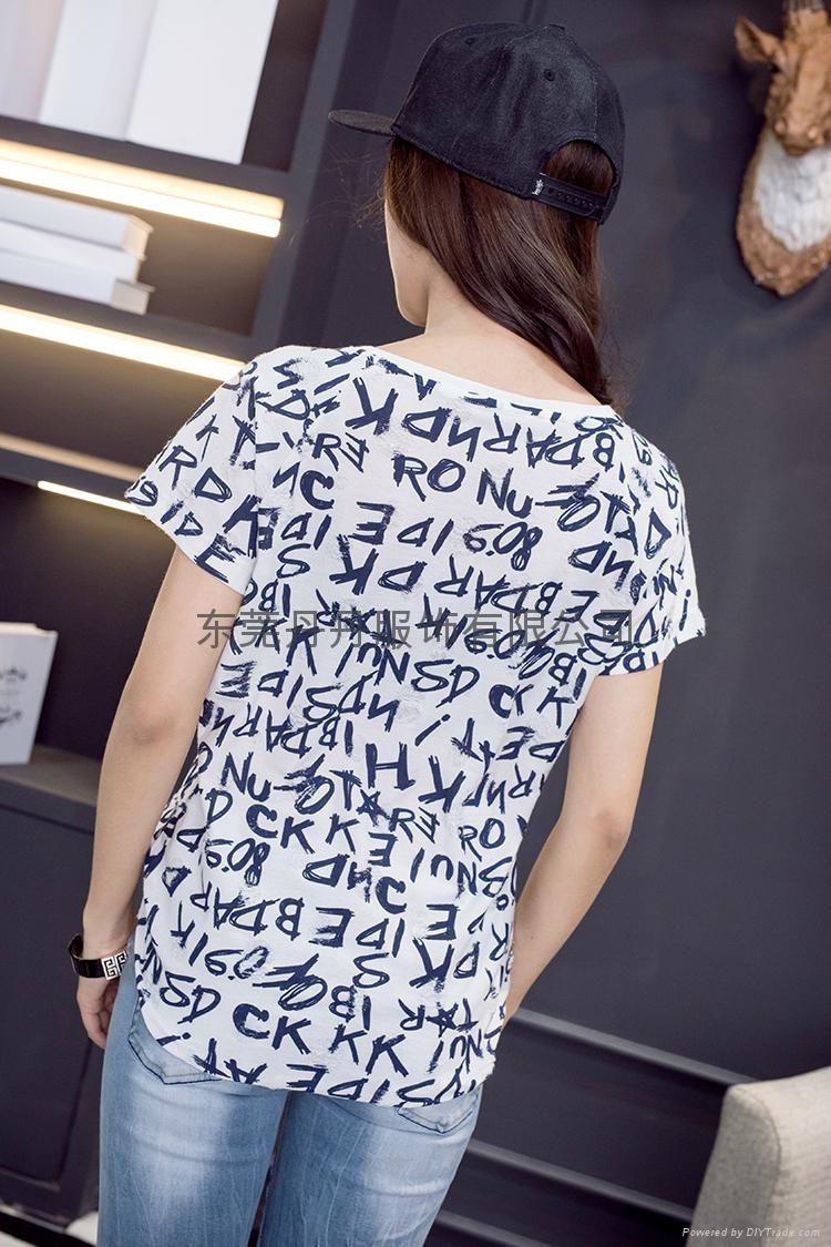 新款全棉简约时尚大方字母印花宽松T恤 2