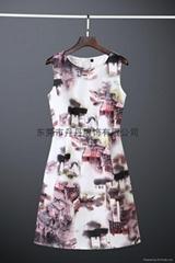 新款显瘦复古秋季3D效果水墨印花无袖连衣裙