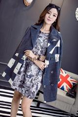 秋冬新款高档英伦风格子加长款羊毛翻领女大衣