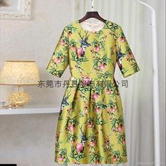 秋冬新款動物花朵印花七分袖加厚收腰顯瘦打底裙裝