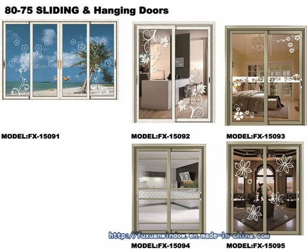 1.4 thick Two Tracks Exterior Glass Sliding Doors  1
