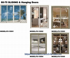 1.4 thick Two Tracks Exterior Glass Sliding Doors