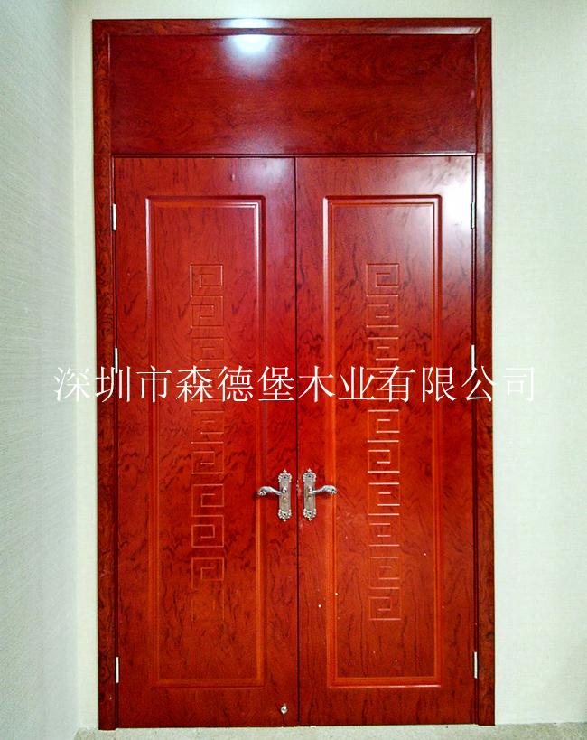 會議室用橫紋木皮烤漆雙開門 3