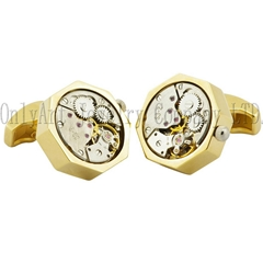 Gold plated clock movement cuff links