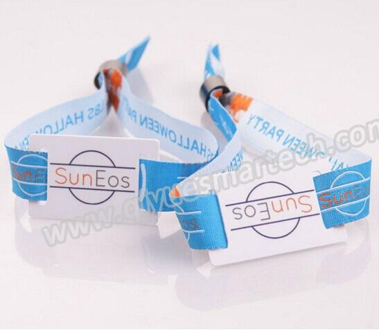 13.56Mhz disposable festival fabric rfid wristbands for events  1