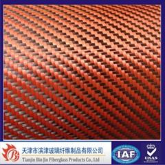 Red Carbon fiber Aramid Fabric