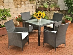 dining chair and top glass dining table with aluminum frame armchair rattan