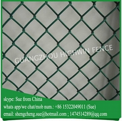 China factory Green PVC coated used chain link fence for sale