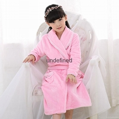 High quality children winter bathrobe coral fleece long Princess flannel lace n