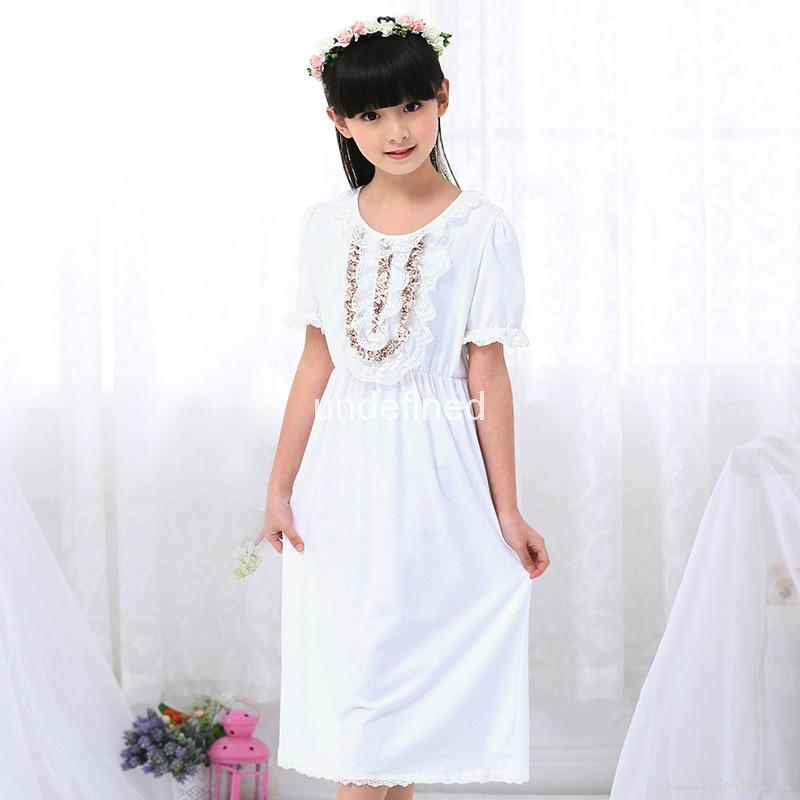 Summer Girls Sleeping Dress lace Pajamas Children Pijamas Vintage Princess Night 1