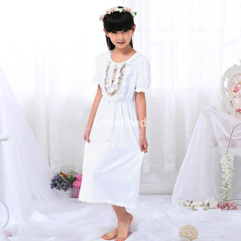 Summer Girls Sleeping Dress lace Pajamas Children Pijamas Vintage Princess Night 2