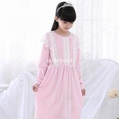 Cotton Nightgown Princess Nightdress Royal pijama Sleepwear Long White girl kids