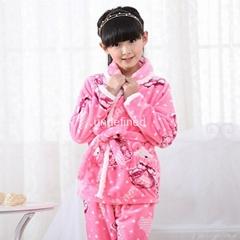 Winter Children's flannel pajamas girls pajamas suits tracksuit velvet lovely