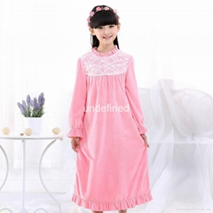 Nightgown Sleepwear Girls Long Sleeve Flannel Pajamas Children Lace Pijamas Swee