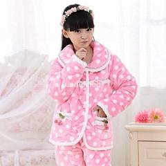 Children's pajamas set three layer  Winter thicken warm Pijamas Suit Home Sleepw