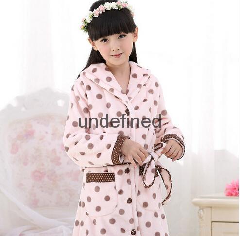Grey White Polka Dot children's Sleep Lounge Robe 1