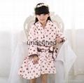 Grey White Polka Dot children's Sleep Lounge Robe 3