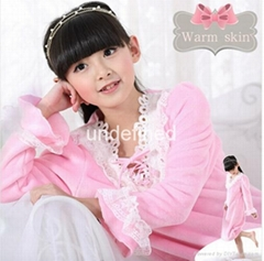 Girls Vintage Princess long sleeve soft coral fleece kids pijama lace nightgown